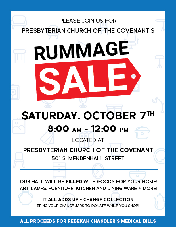 CHURCH RUMMAGE SALE! Oct  7th – Church of the Covenant